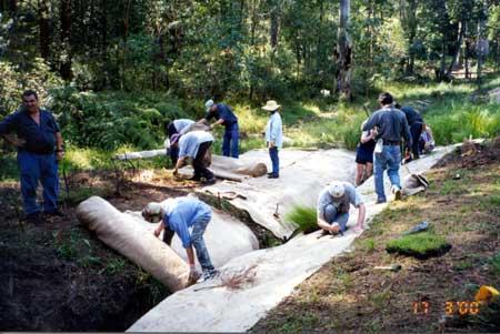 Weed mats along creek line with volunteers
